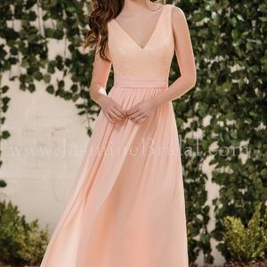 Long V-neck Sequin & Poly Chiffon Bridesmaid Dress